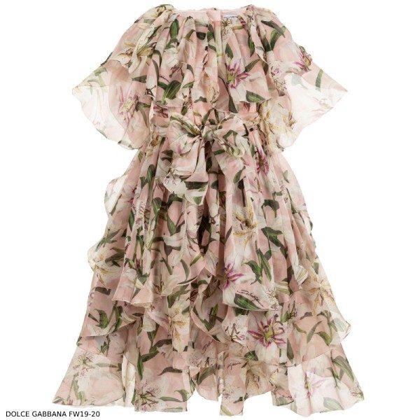 Dolce & Gabbana Girls Mini Me Pink Lily Print Silk Chiffon Dre