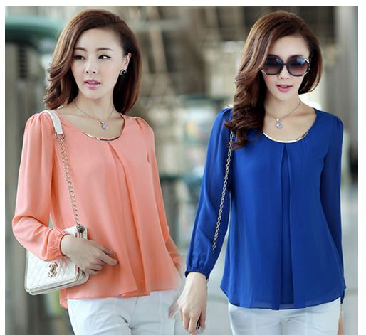 Elegant Fashion Candy Color Long Sleeve Chiffon Tops Blouse .