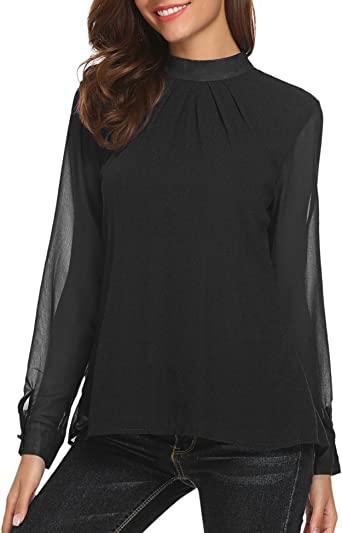 UNibelle Women's Loose Chiffon Tops Blouse Casual Long Sleeve .