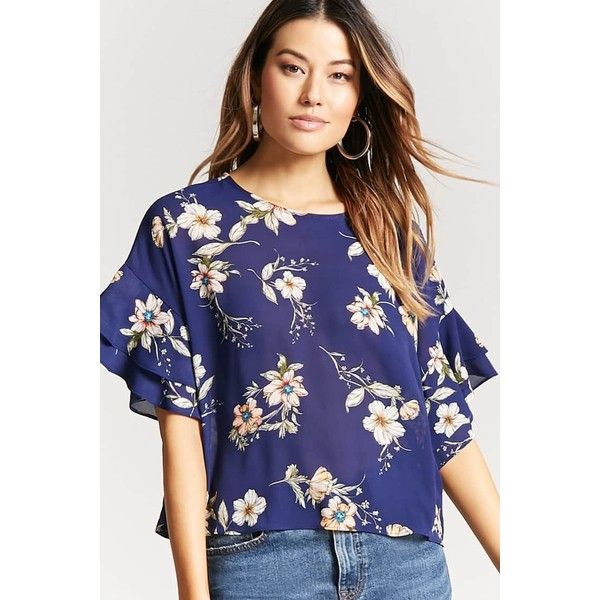Forever21 Floral Chiffon Top ($16) ❤ liked on Polyvore featuring .