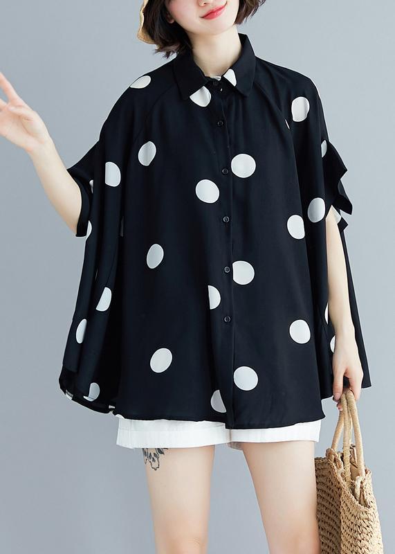 Italian black dotted chiffon tops quality Sewing lapel Art Summer .