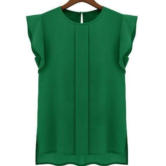 new Womens Ladies Sleeveless Solid Chiffon Tops Blouse Shirt .