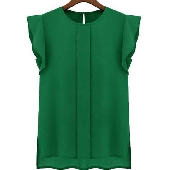 new Womens Ladies Sleeveless Solid Chiffon Tops Blouse Shirt .
