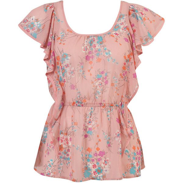 Dainty Floral Chiffon Top ($20) ❤ liked on Polyvore featuring .