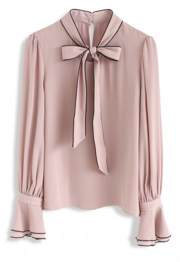 Bowknot Bell Sleeves Chiffon Top in Pink - Retro, Indie and Unique .