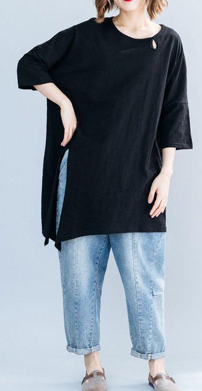 French black chiffon tunic dress flare sleeve tunic summer Dress .