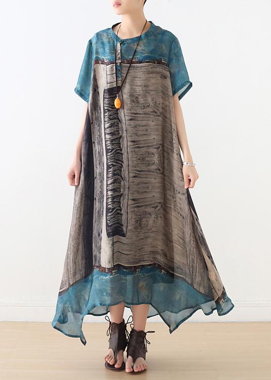 Simple blue chiffon Tunics asymmetric hem long summer Dresses .