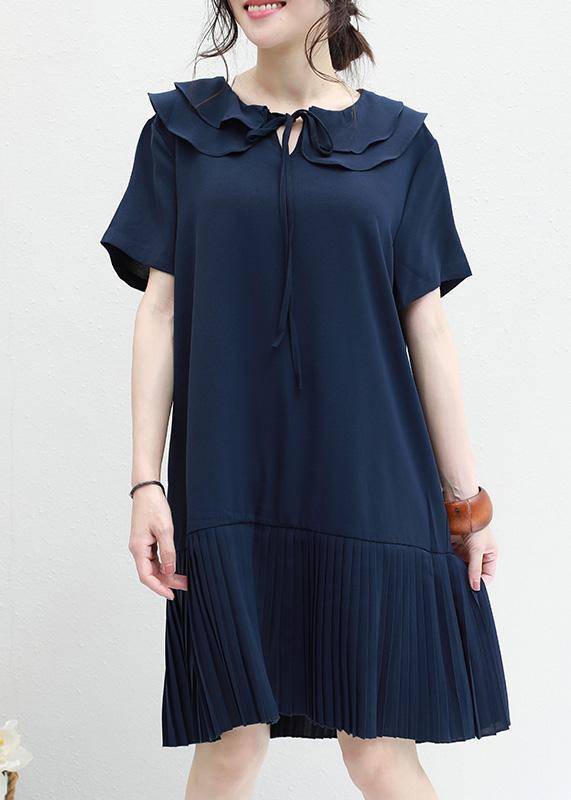 DIY ruffles Chiffon Tunics navy o neck daily summer Dresses – SooLin