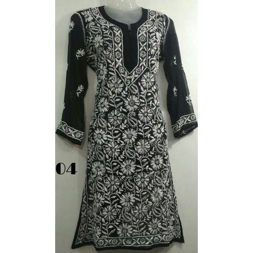 Ladies Black Chikan Kurti at Rs 400/piece | Chikan Kurtis | ID .