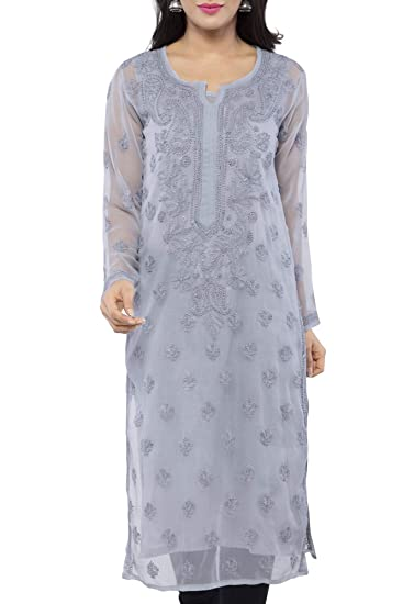 Buy ADA Hand Embroidered Casual Wear Chikan Kurti Kurtas for Women .