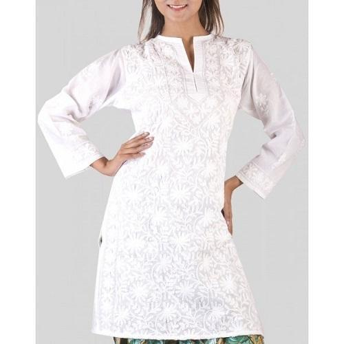 Ladies Cotton Full Sleeves Chikan Stitched White Kurti, Size: XL .