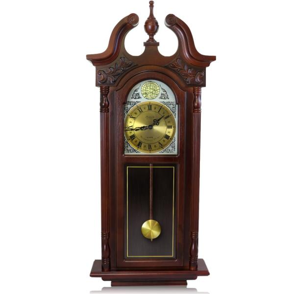 Bedford Clock Collection 38 in. Grand Antique Cherry Oak Chiming .