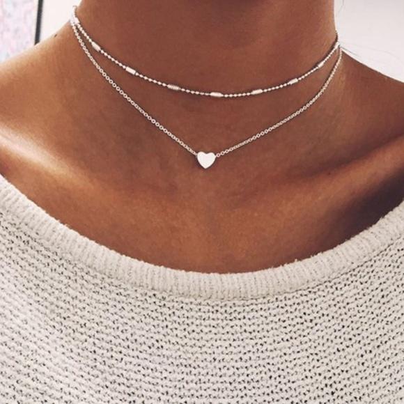 Jewelry | Cute Set Silver Heart Ball Chain Choker Necklace | Poshma