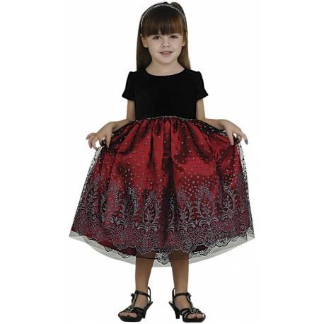 Little Girls Christmas Dress Red Glitter and Velvet Size