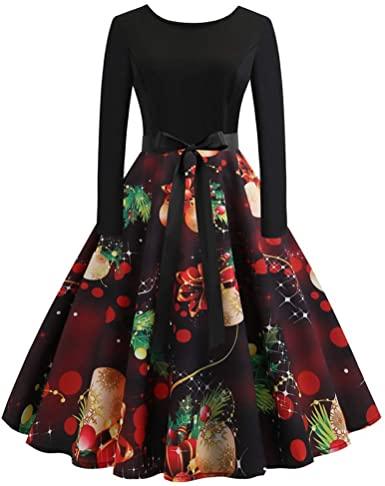 TOTOD Christmas Vintage Dress, Women Elegant Long Sleeve Print .
