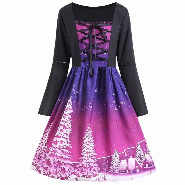 Akoyovwerve - Akoyovwerve Christmas Dresses for Women Midi Flare .
