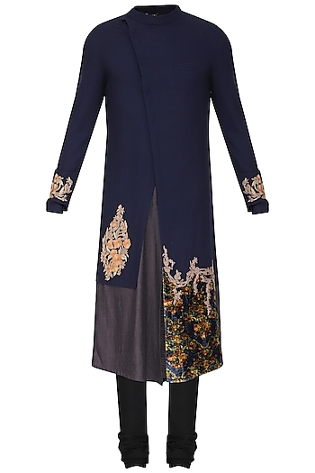 Blue color block embroidered kurta with churidar pants available .