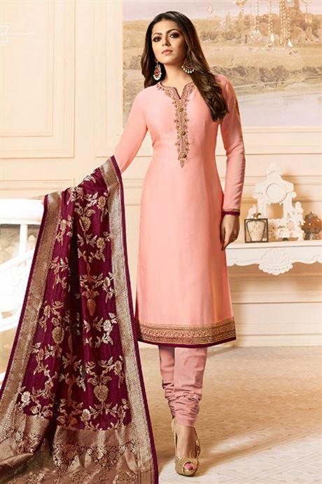 Plain Designer Minimum Work Churidar Salwar Kameez Catalog .