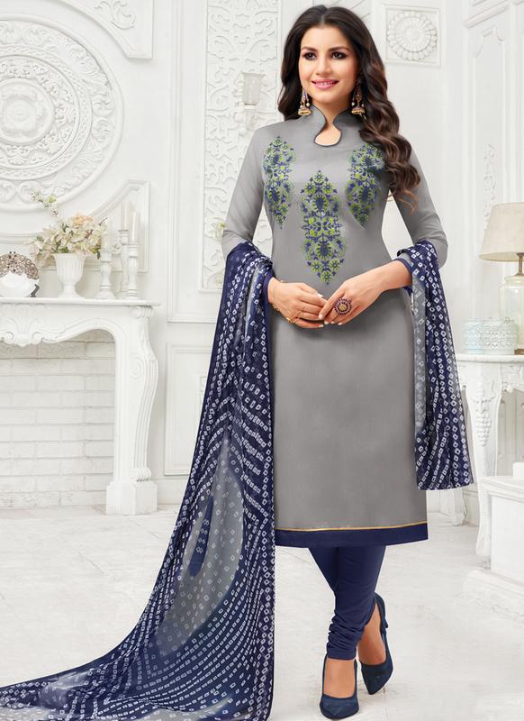 SareeBuzz Grey Cotton Embroidered Work Churidar Salwar Kameez .
