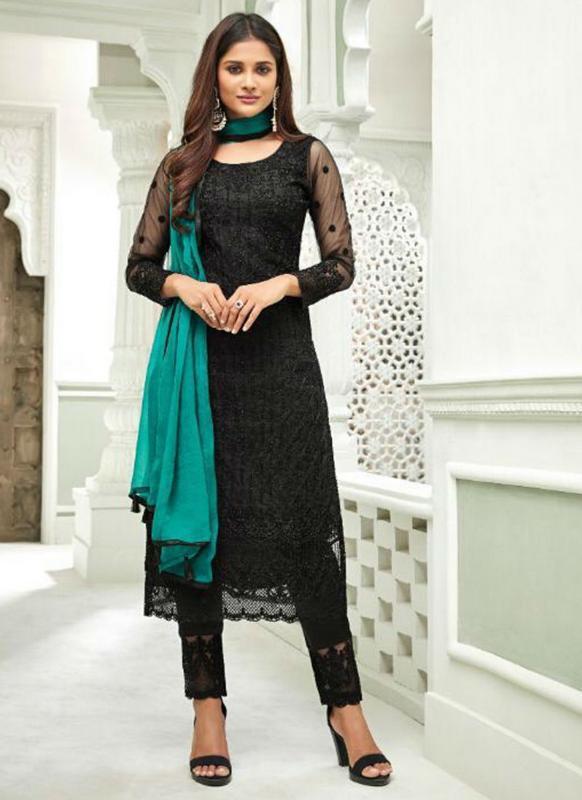 Black Net Designer Handwork Party Wear Churidar Salwar Kameez .