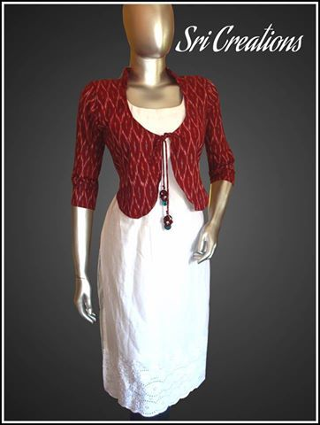 The off white Hakkoba top worn with maroon Ikat coat with a quirky .