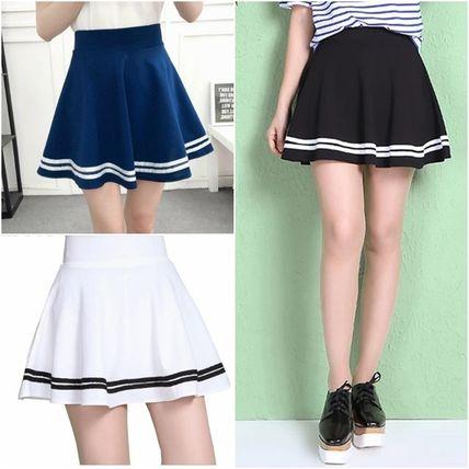 Shop 2019 SS Short Stripes Circle Skirts Mini Skirts by EKSHOP | BUY
