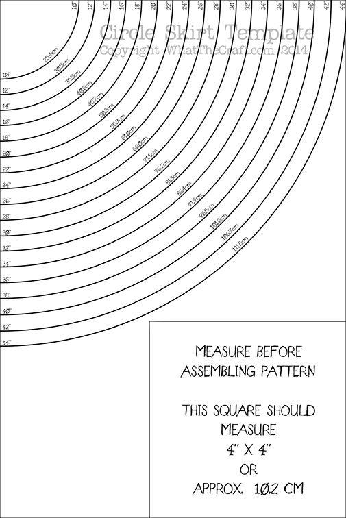 Circle Skirt template Printable PDF Pattern : WhatTheCraft Pattern .