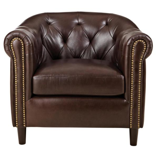 Home Decorators Collection Warin Chocolate Leather Club Chair .