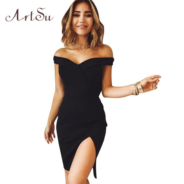 ArtSu Women Elegant Sexy Off Shoulder Dress Slim Party Club .