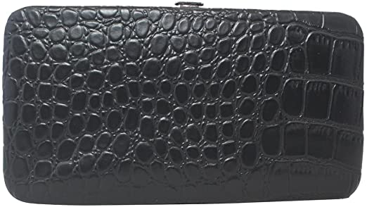 Chicastic Faux Snakeskin Leather Flat Hard Case Clutch Wallet .
