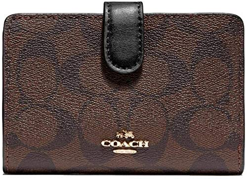 Amazon.com: Coach PVC Medium Corner Zip Wallet Signature Brown .