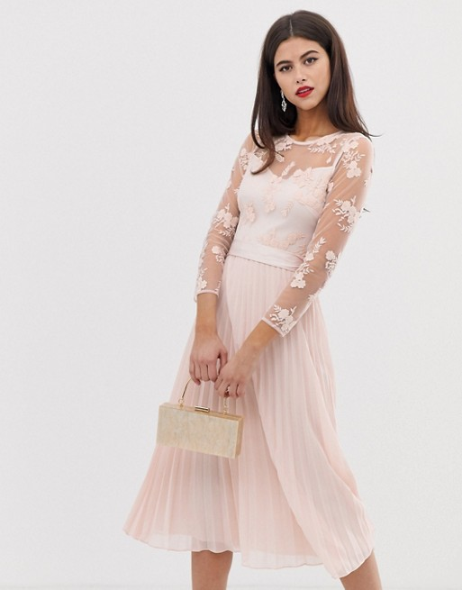 Coast Odetta embroidered bridesmaid midi dress | AS