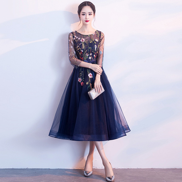 Elegant Cocktail Dress 2020 Flower Embroidery Short Evening Party .