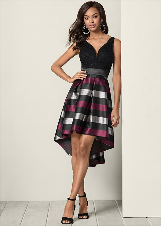 Lace Stripe Cocktail Dress in Black Multi | VEN