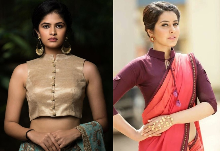 20 Stylish High Collar Neck Blouse Designs to Look More Styli