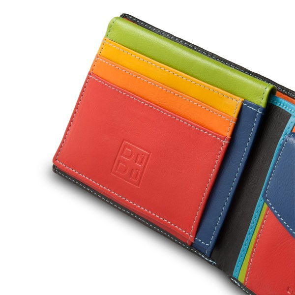 DuDu Leather classic multi color wallet with coin purse and inside .