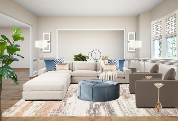 Modern Living Room Interior Designs Blue blush Living Room | Et