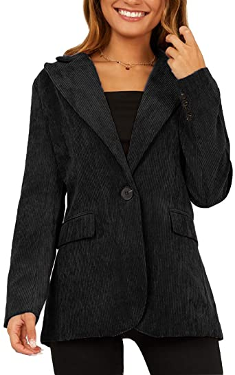 Ofenbuy Womens Corduroy Blazers Long Sleeve One Button Notched .