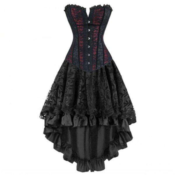 Sexy Women's Victorian Corset Dress Lace Overbust Gothic Corset .