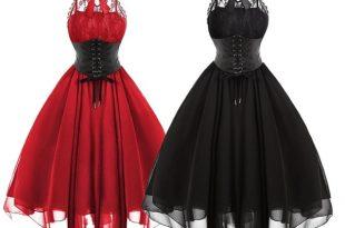 Lace Panel Cross Back Gothic Corset Dress | Wi