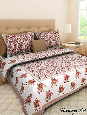 Printed Beautiful Design Handmade 100% Cotton Bed Sheet 2 Pillow .