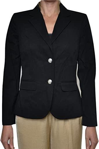 LAUREN RALPH LAUREN Two Button Stretch Cotton Jacket Blazer, Black .