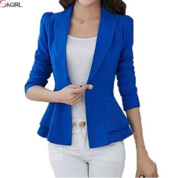 Cheap Peplum Blazer With Single Button,Casual Office Short Cotton .
