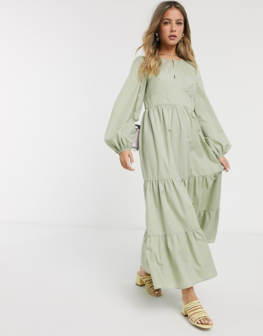 ASOS DESIGN cotton poplin tiered maxi dress with long sleeves in .