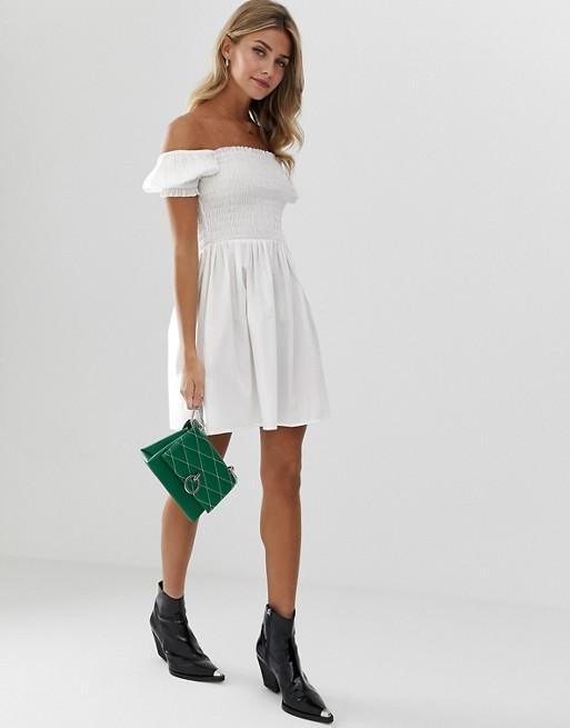 ASOS DESIGN shirred bodice square neck cotton mini smock dress | AS