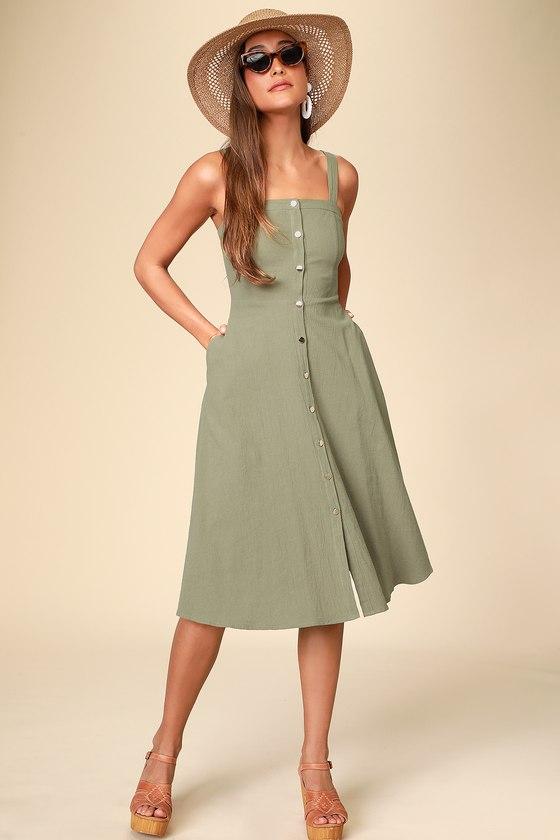 Olive Green Dress - Cotton Midi Dress - Button Front Midi Dre