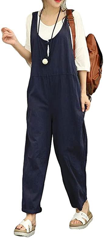 Amazon.com: Jumpsuits for Women Casual Cotton Linen Jumpsuit Long .