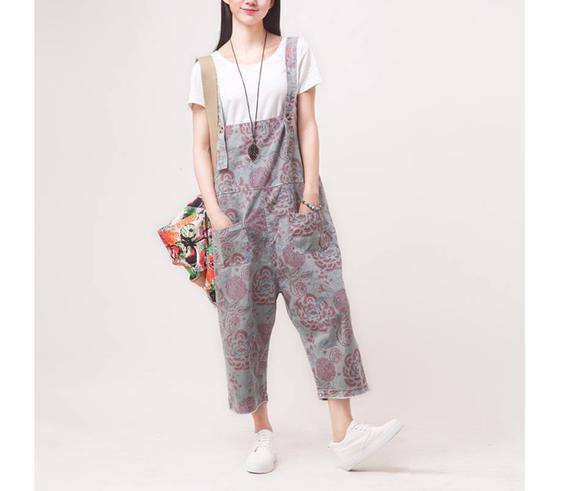 Womens Loose Fitting Elegance Printed Floral Cotton Jumpsuits   Et
