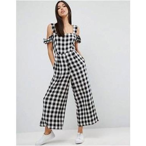 Rage You Black and White Ladies Checked Cotton Jumpsuit, Rs 600 .