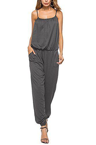 Dreamskull Women's Summer Casual Spaghetti Strap Cotton Jumpsuits .